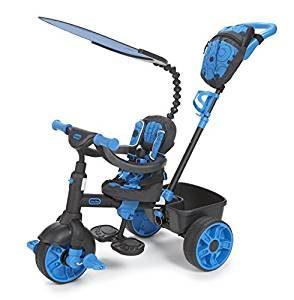 Ce tricycle de la marque little tikes est bleu et noir.