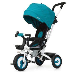 Ce tricycle bébé évolutif de la marque Fascol est bleu et noir.