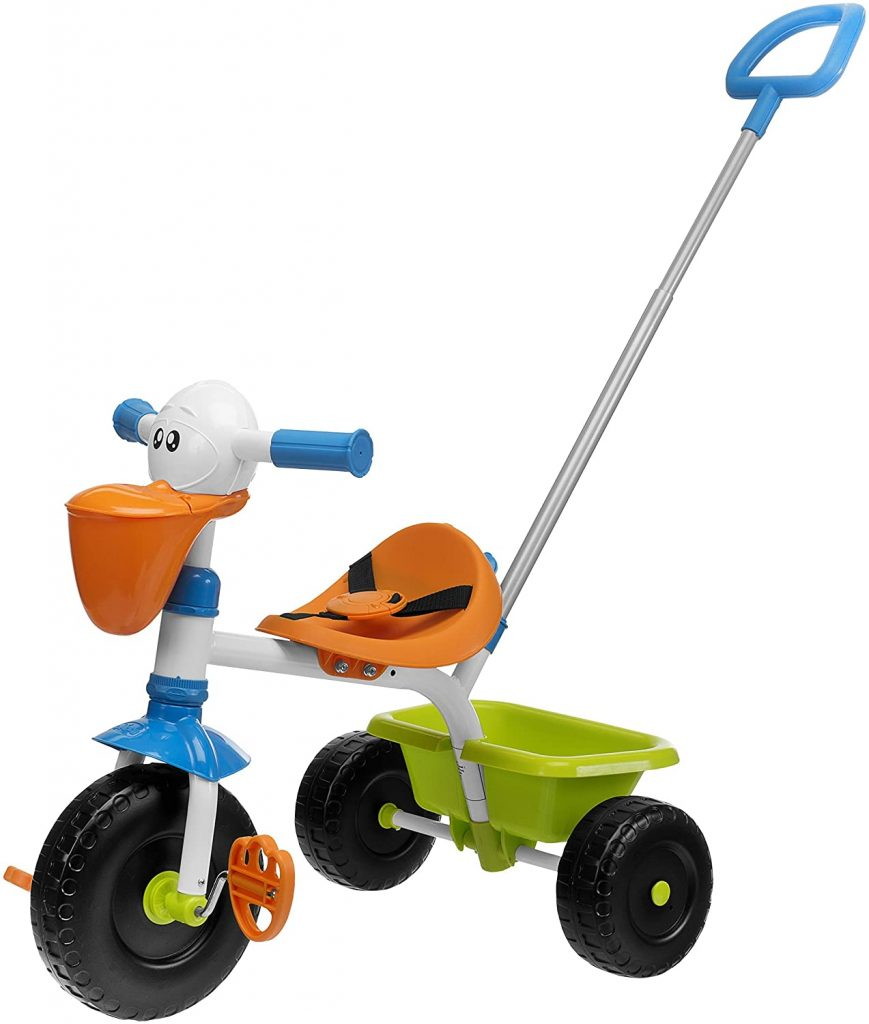 Ce tricycle chicco est original avec son guidon en forme de pelican.