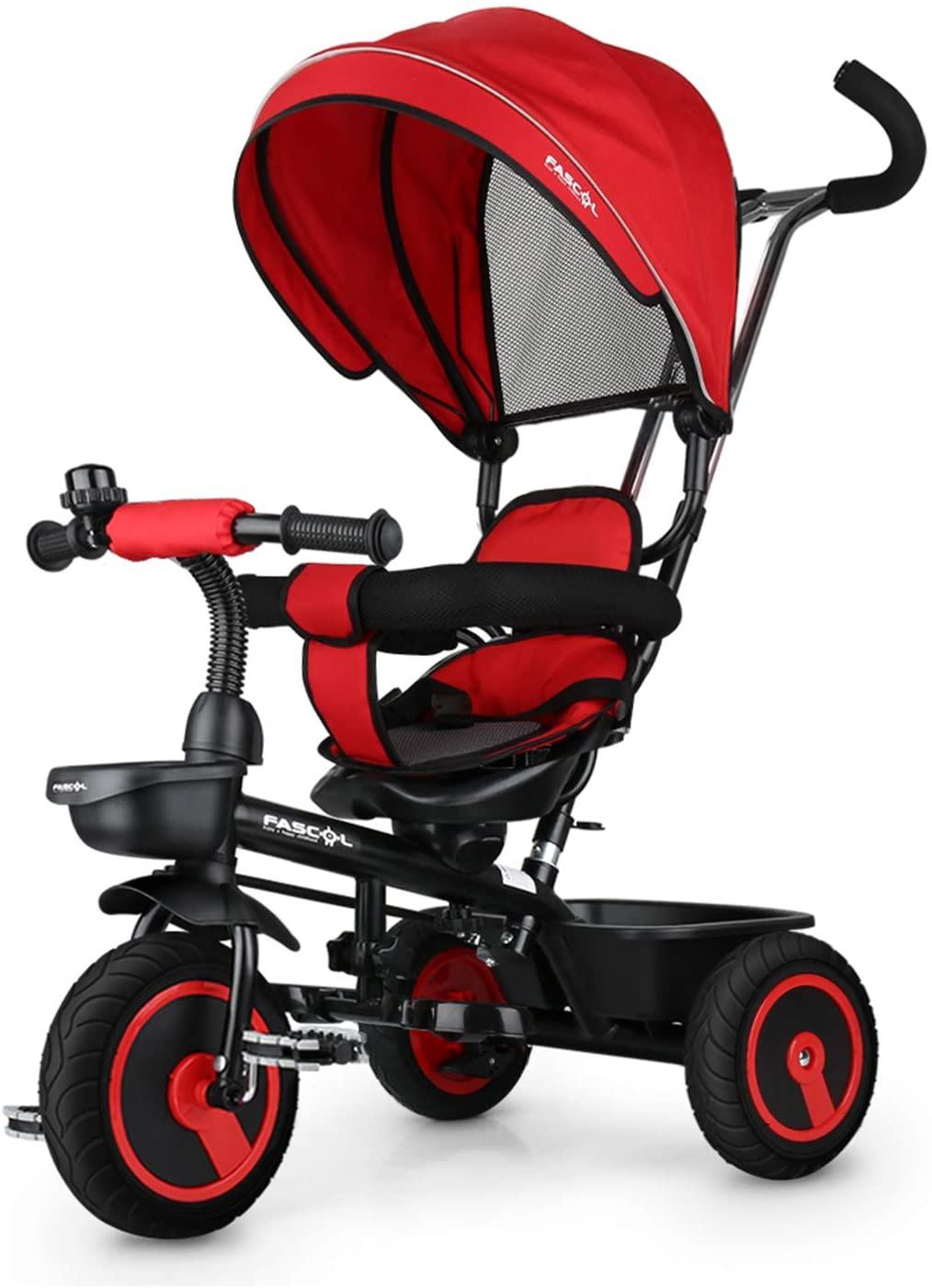 Ce tricycle évolutif pour bébé Fascol dispose d'un siège qui pivote à 360 degrés.