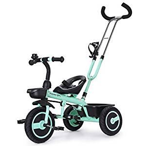 Ce tricycle évolutif est turquoise et noir.