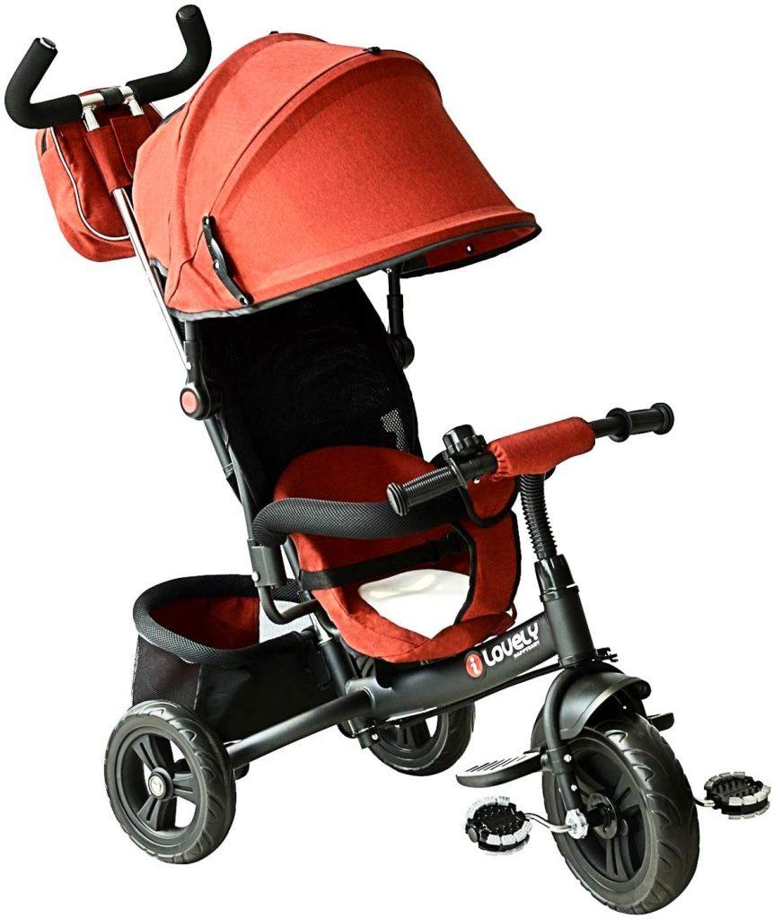 Ce tricycle Homcom dispose d'une capote anti-UV pour protéger votre bébé.