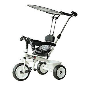 Ce tricycle bébé noir et blanc est de la marque Homcom.