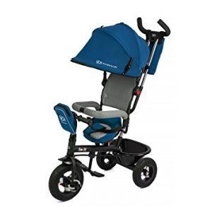 Ce tricycle Kindercraft est bleu et noir.