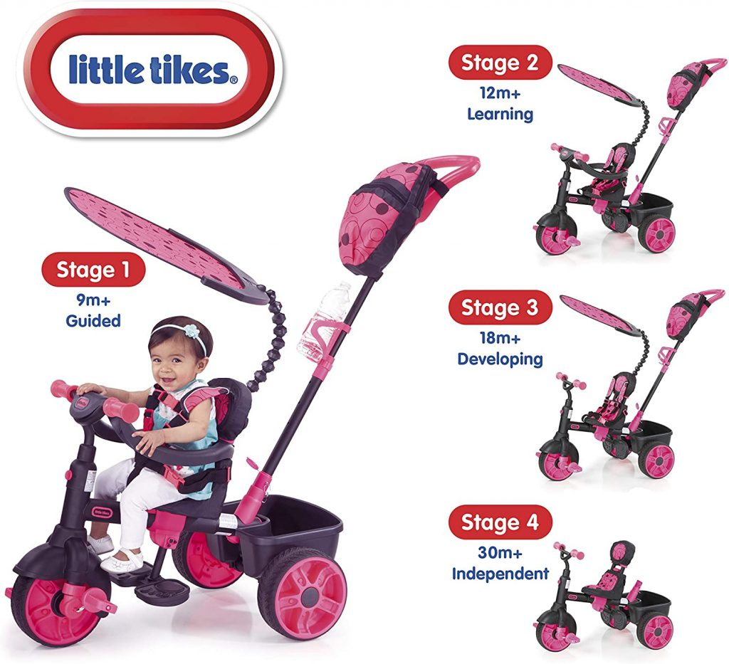 Le tricycle Little Tikes 4 en 1 existe en divers coloris.