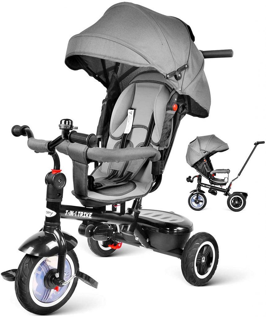 Le tricycle poussette BESREY peut s'utiliser dès 9 mois.