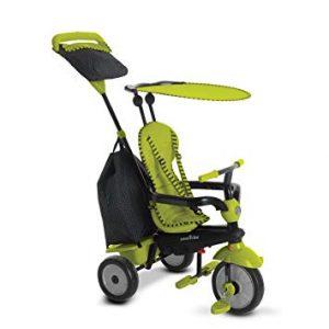Ce tricycle smart trike est de couleur verte.