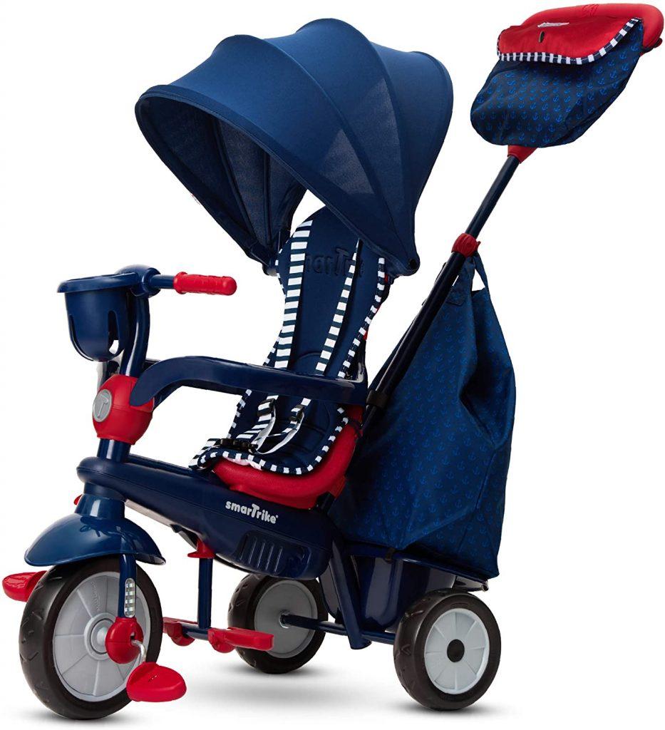 Le tricycle Smart Trike Swirl 4 en 1 est de couleur marine et rouge.