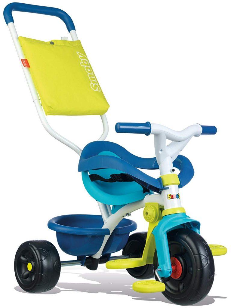 Tricycle smoby bleu et vert qui se prénomme be fun confort.