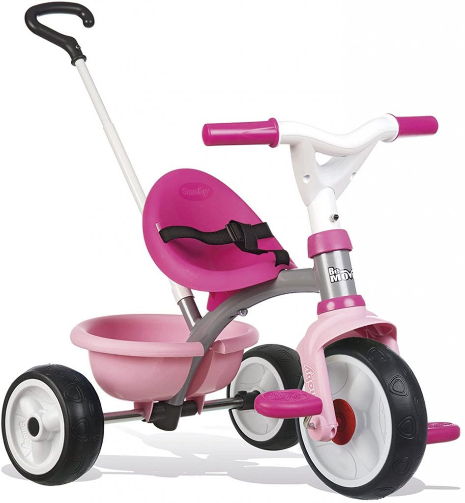 Ce tricycle Smoby Be Move est de couleur rose.