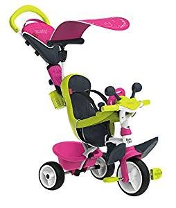 Ce tricycle smoby est de couleur rose et verte.