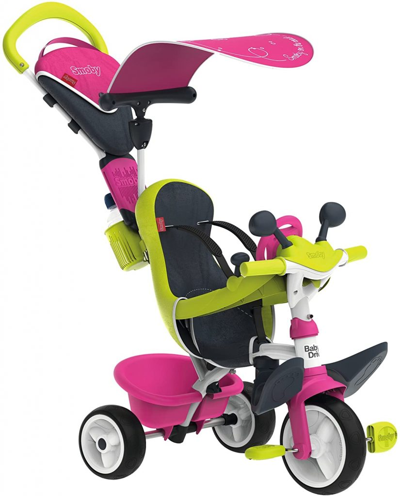 Ce tricycle Smoby Baby Driver Confort est rose et vert.
