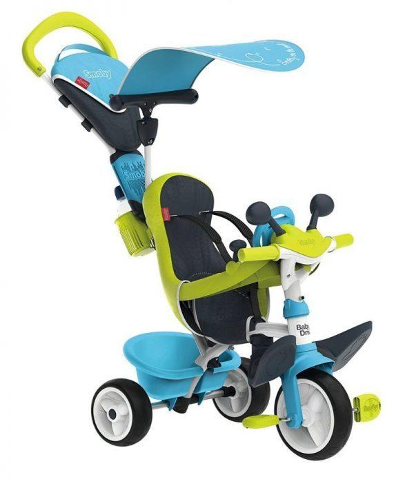 Le tricycle Smoby Baby Driver Confort 2 est bleu et vert.