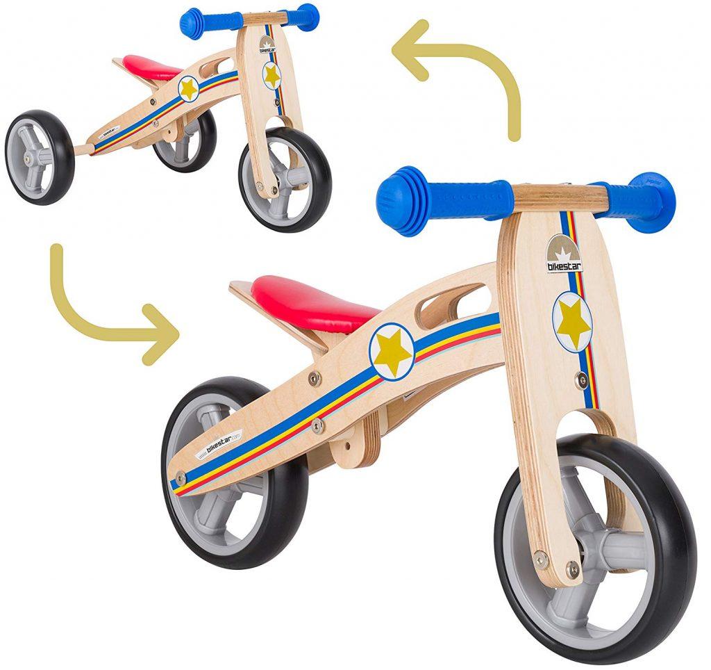 La draisienne évolutive BIKESTAR peut s'utiliser en mode 3 roues ou 2 roues.