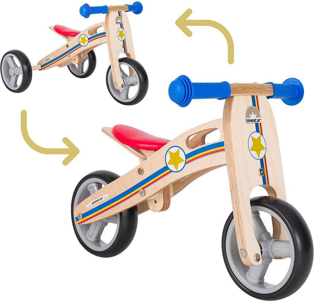 Cette draisienne pour enfant en bois est évolutive.