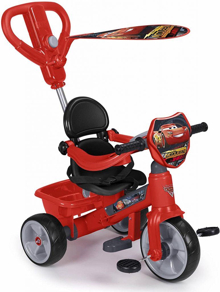 Ce tricycle feber Cars 3 est principalement de couleur rouge.