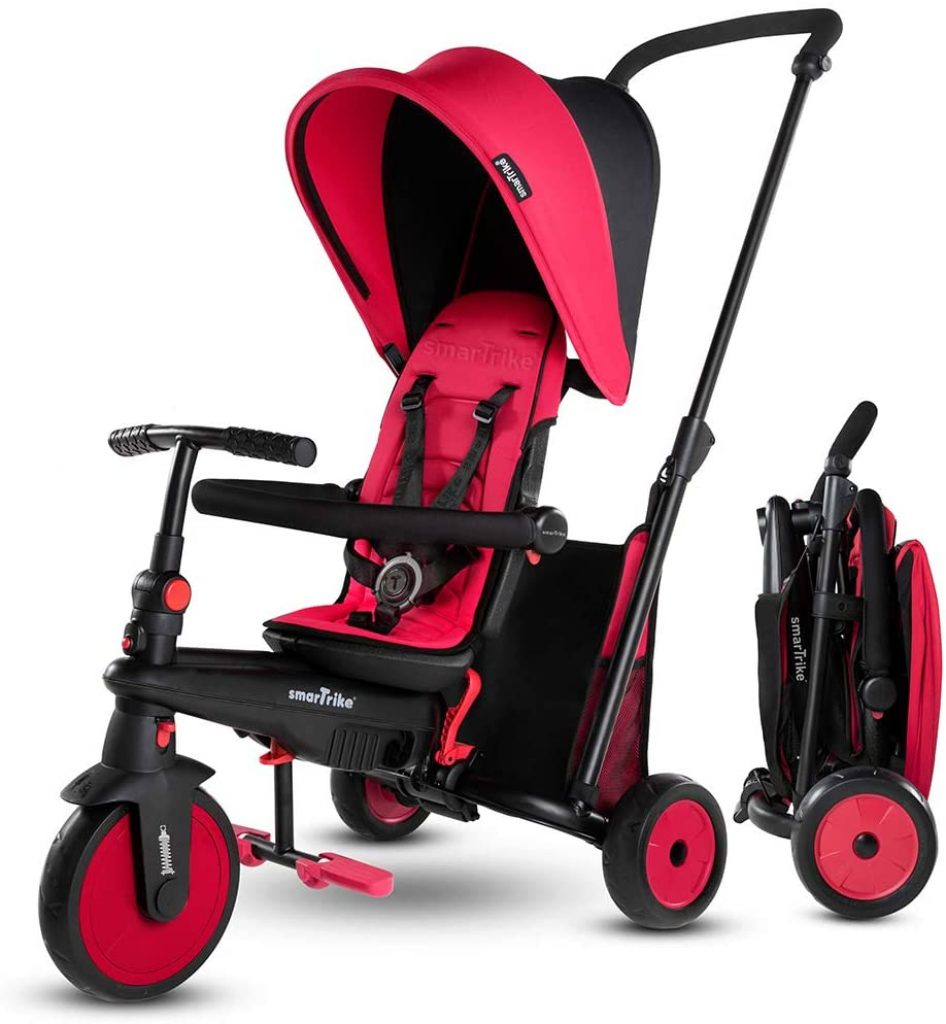 Ce tricycle poussette Smart Trike rouge est pliable.