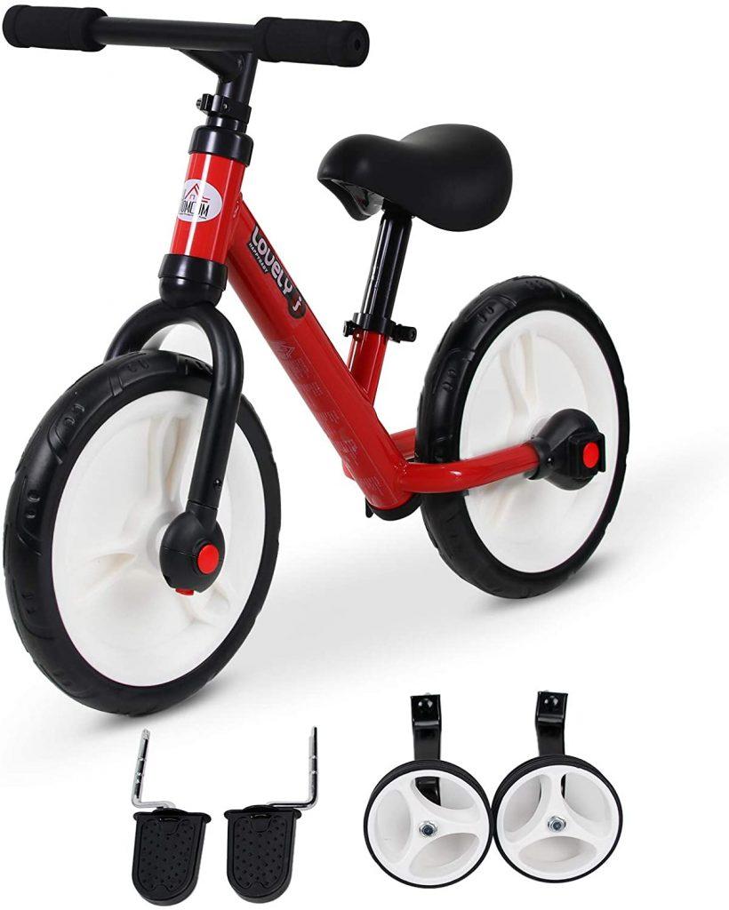 Cette draisienne enfant Homcom est 2 en 1 car elle fait notamment tricycle.