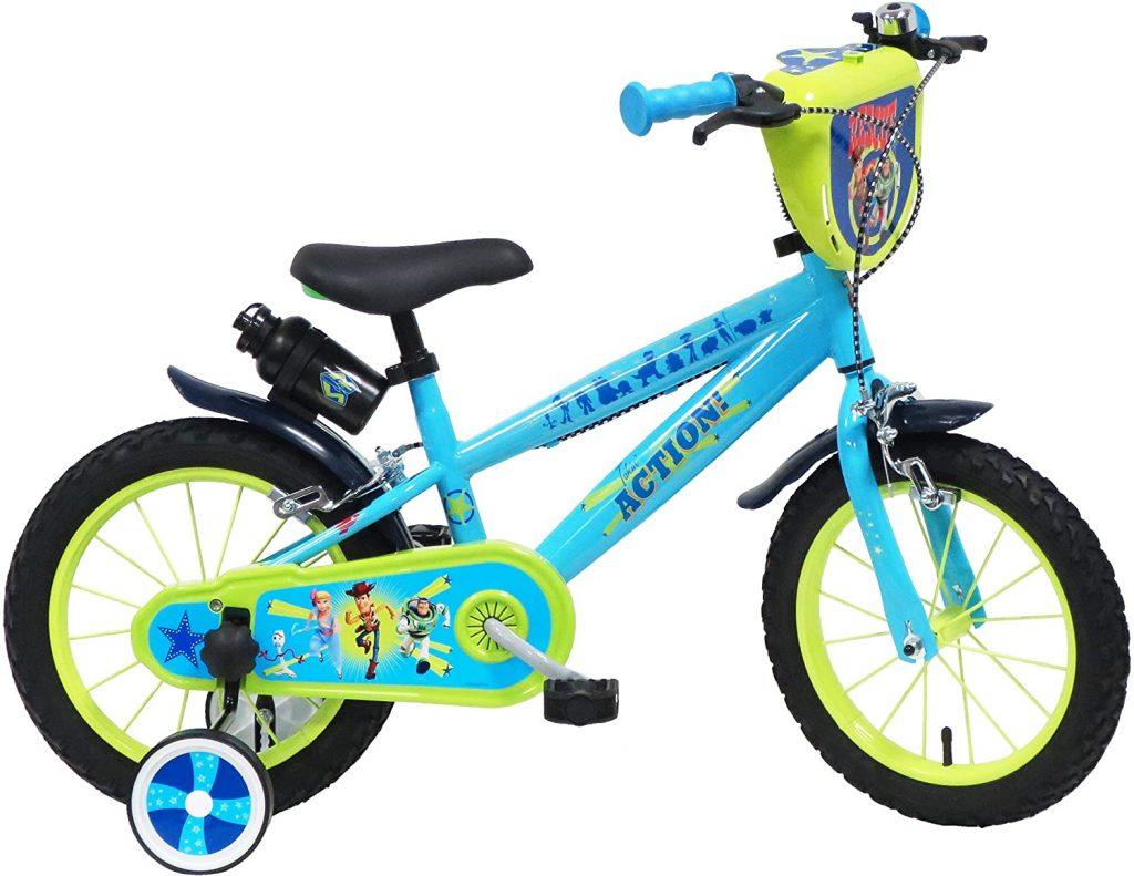 Ce vélo enfant Toy Story est bleu clair.