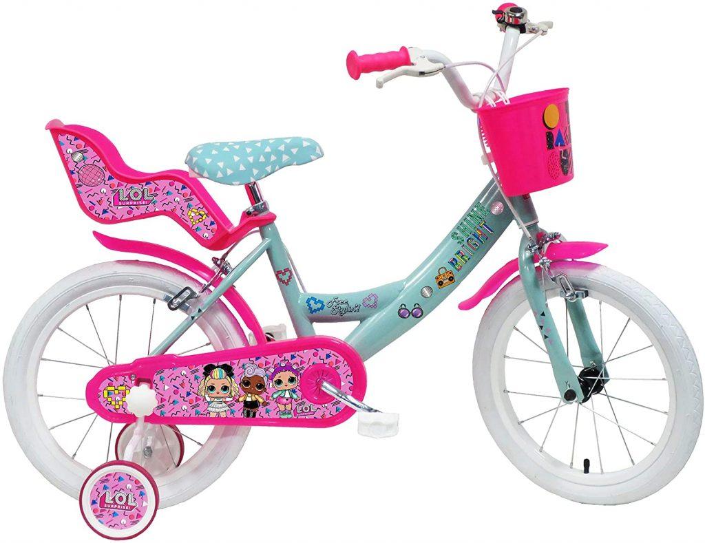 Ce vélo fille 16 pouces est de couleur rose, turquoise et blanche.