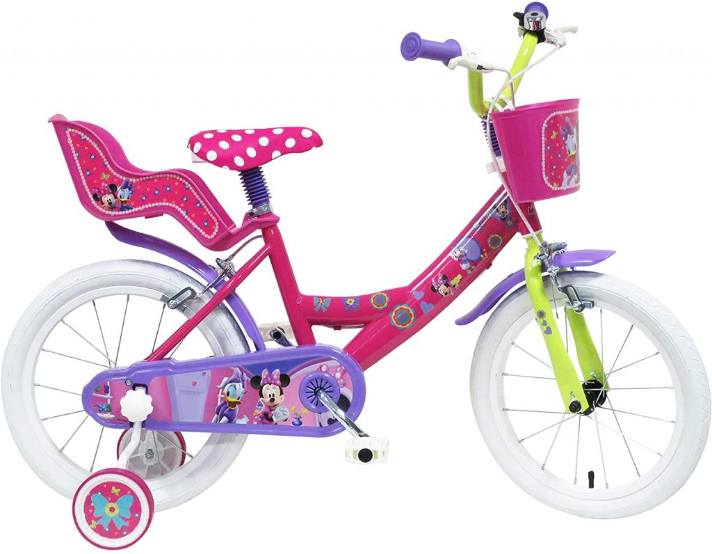 Ce vélo Minnie est multicolore.