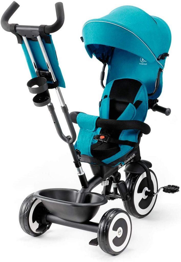 Ce tricycle Kinderkraft Aston est de couleur bleue.