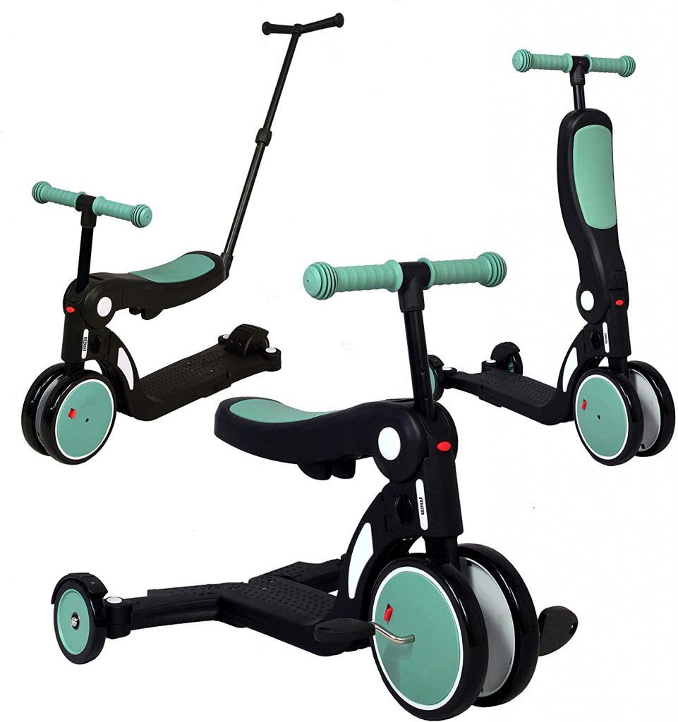 La trottinette évolutive Scootiz peut s'utiliser avec 3 roues ou 2 roues.