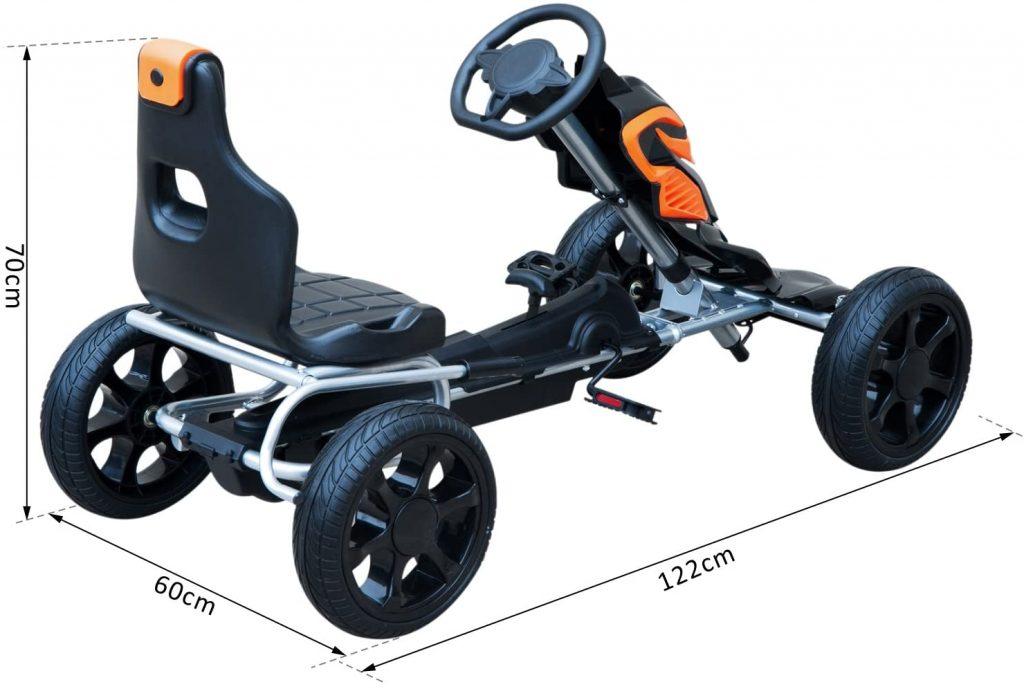 Ce kart pour enfant Homcom Go-Kart mesure 122 cm de long.