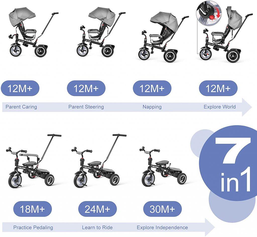 Le tricycle pour bébé Besrey comporte 7 fonctions en 1 produit.