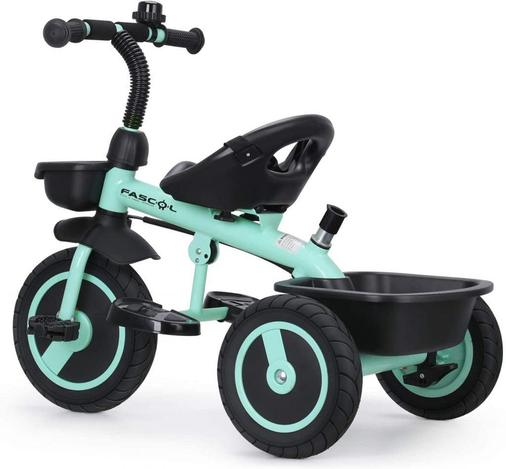 Le tricycle pour bébé Fascol est de couleur vert d'eau.