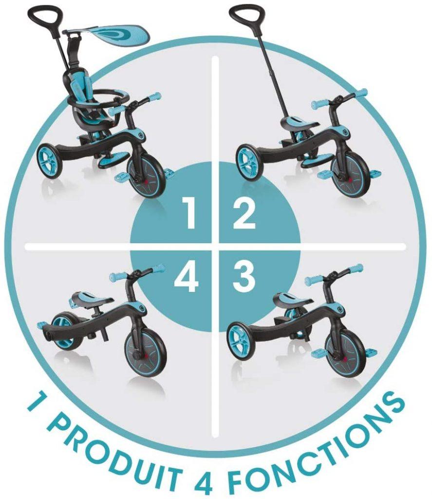 Le tricycle pour bébé Globber Explorer regroupe 4 fonctions en 1 produit.