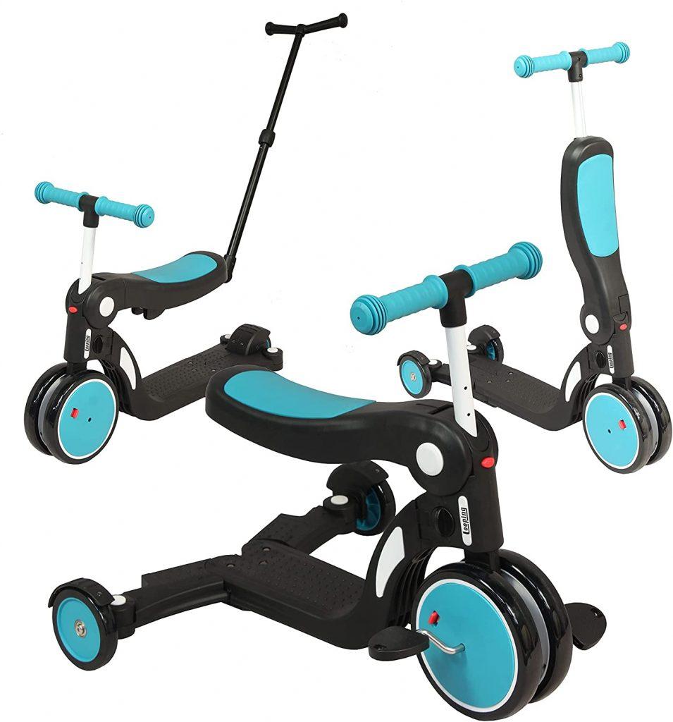 Ce tricycle pour bébé Scootizz est de couleur bleu paon.
