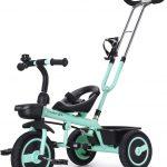 Le tricycle pour bébé Fascol évolutif a des rangements utiles.