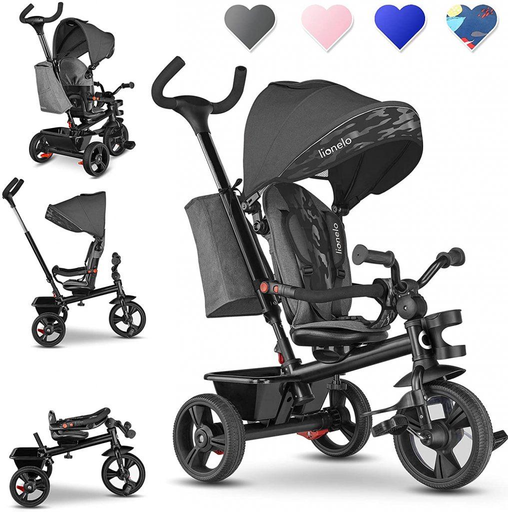 Le tricycle évolutif Lionelo pour enfant existe en divers coloris.